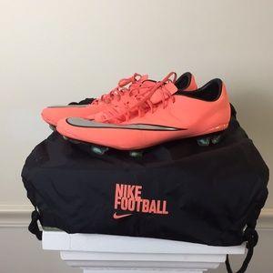 Nike Mercurial Neon orange cleats men's 10.5